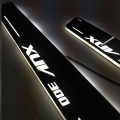 Mahindra XUV300 Door Foot LED Mirror Finish Black Glossy Scuff Sill Plate Guards (Set of 4Pcs.)