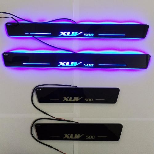 Mahindra Xuv 500 Door Foot LED Mirror Finish Black Glossy Scuff Sill Plate Guards (Set of 4Pcs.)