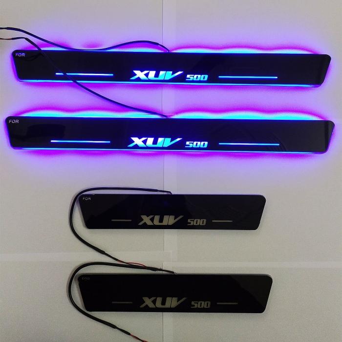 Matrix Moving LED Light Scuff Sill Plate Guards for Mahindra Xuv 500 (Set of 4Pcs.)