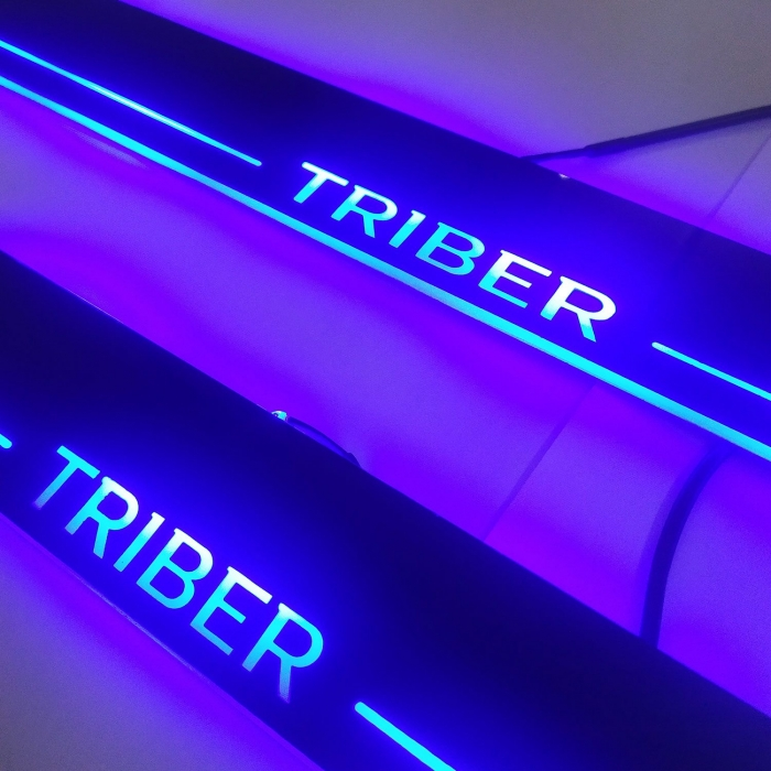 Renault Triber Door Foot LED Mirror Finish Black Glossy Scuff Sill Plate Guards (Set of 4Pcs.)