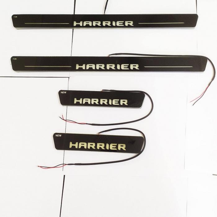 Tata Harrier Door Foot LED Mirror Finish Black Glossy Scuff Sill Plate Guards (Set of 4Pcs.)