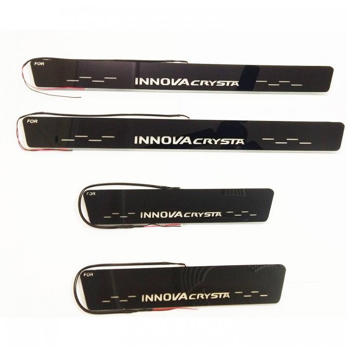 Toyota Innova Crysta Door Scuff LED Matrix Moving Light Foot Step Sill Plate Guard (Set of 4Pcs)