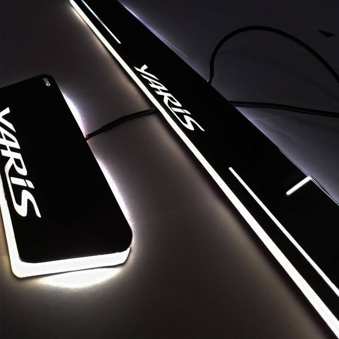 Car Door LED Light Scuff Sill Plate Guards for Toyota Yaris Matrix Moving Light (Set of 4Pcs.)