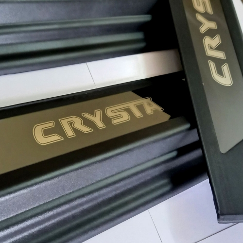 Toyota Innova Crysta Scuff Sill Plate Black Glossy (Set of 4Pcs,)