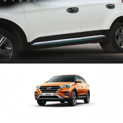 Hyundai New Creta 2018 Door Chrome Side Beading Trims (Lower Side)