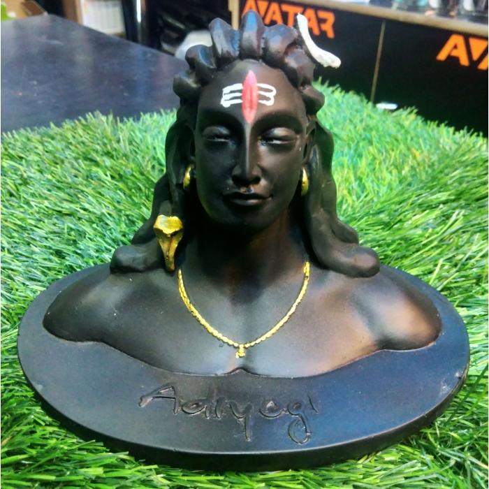 Matte Black Finish Shiva Adiyogi Murti Statue Idol is Beautifully Suitable For Car Dashboard