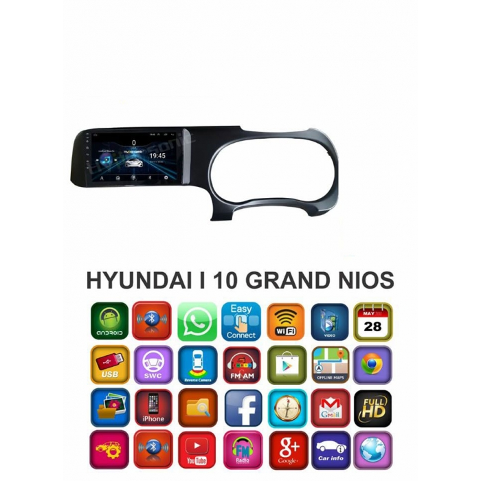 Hyundai Aura 9 Inches HD Touch Screen Smart Android Stereo (2GB, 16GB) with Stereo Frame By Carhatke