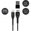 Toreto USB Data Cable From USB 2.0 to Lightning /From Type C to Lightning TOR 829
