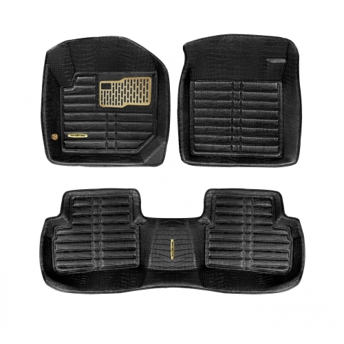 Autostorm Car 5D Floor Mats For Hyundai Creta Full Velcro Set Of 3 Black