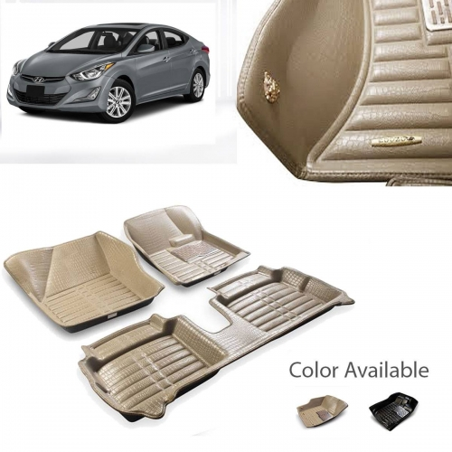 Hyundai Verna Premium 5D Car Floor Mats (Set of 3, Black & Beige)