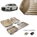 Aud A6 Premium 5D Car Floor Mats (Set of 3, Black & Beige)