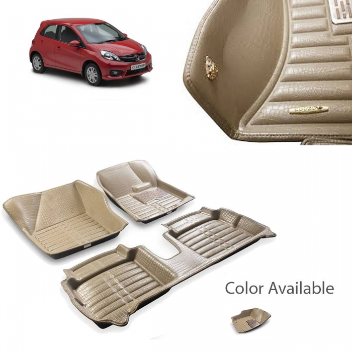 Honda Brio Premium 5D Car Floor Mats (Set of 3, Beige)
