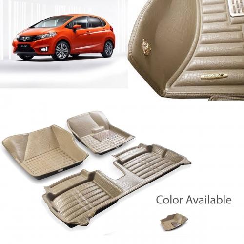 Honda New Jazz Premium 5D Car Floor Mats (Set of 3, Beige)
