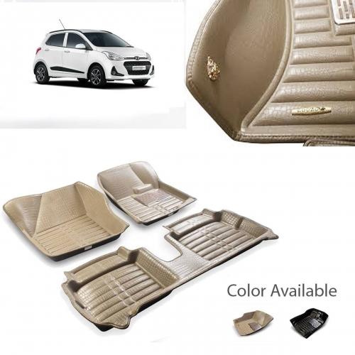 Hyundai i10 Grand Premium 5D Car Floor Mats (Set of 3, Black & Beige)