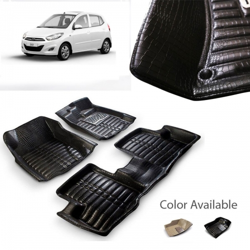 Hyundai i10 Old Premium 5D Car Floor Mats (Set of 3, Black & Beige)