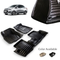 Hyundai New Xcent Premium 5D Car Floor Mats (Set of 3, Black & Beige)