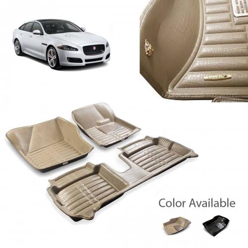 Jaguar XF Premium 5D Car Floor Mats (Set of 3, Black & Beige)