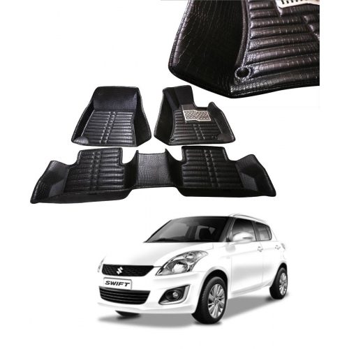 Maruti Suzuki Swift Premium 5D Car Floor Mats (Set of 3, Black and Beige)