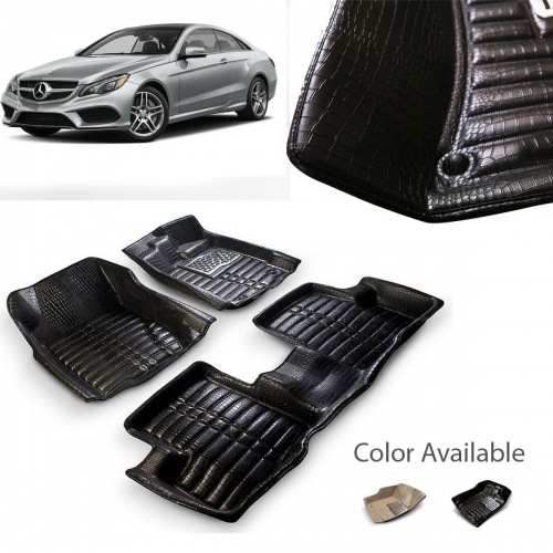 Mercedes-Benz E Class Premium 5D Car Floor Mats (Set of 3, Black & Beige)