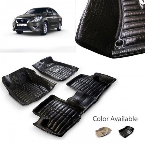 Nissan Sunny Premium 5D Car Floor Mats (Set of 3, Black & Beige)