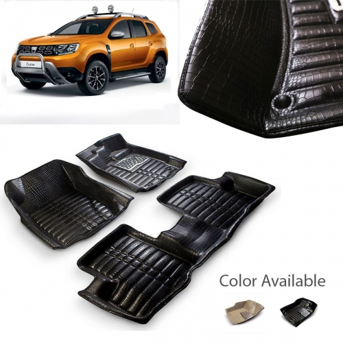 Renault Duster Premium 5D Car Floor Mats (Set of 3, Black and Beige)