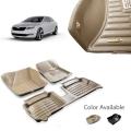 Skoda Laura New Premium 5D Car Floor Mats (Set of 3, Black and Beige)