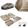 Skoda Octavia Premium 5D Car Floor Mats (Set of 3, Black and Beige)