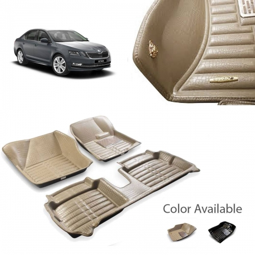 Skoda Octavia New Premium 5D Car Floor Mats (Set of 3, Black & Beige)