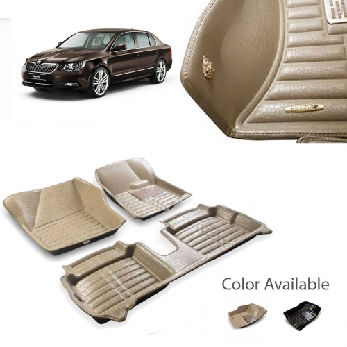 Skoda Superb Premium 5D Car Floor Mats (Set of 3, Black and Beige)