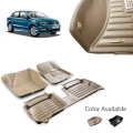 Volkswagen Ameo Premium 5D Car Floor Mats (Set of 3, Black and Beige)