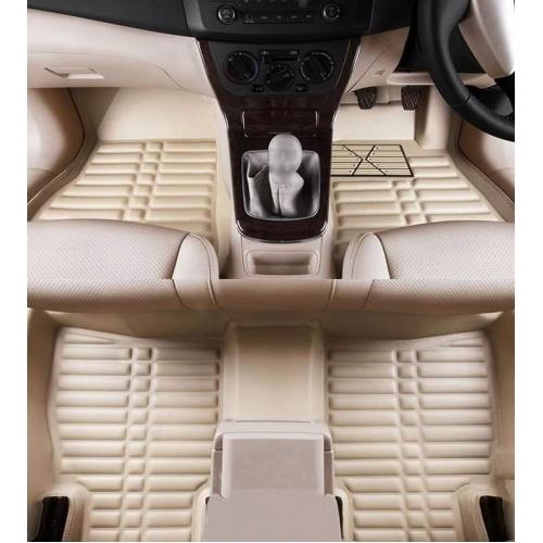 Nissan Kicks Premium 5D Car Floor Mats (Set of 3, Black & Beige)
