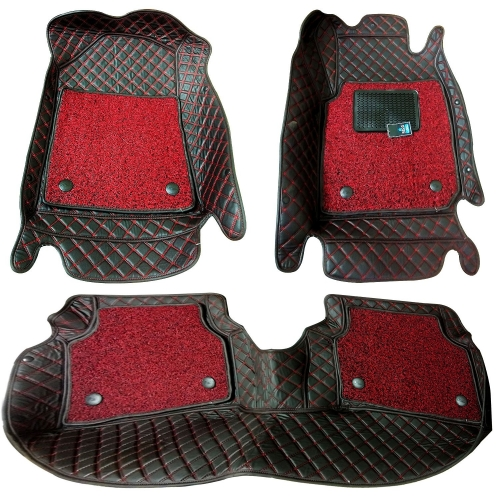 Kia Sonet Diamond Pattern Luxury Car Floor Mats 7D Car Floor Mats Black In Red Thread (Set Of 3)