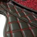 Kia Seltos Diamond Pattern Luxury Car Floor Mats 7D Car Floor Mats Black In Red Thread (Set Of 3)