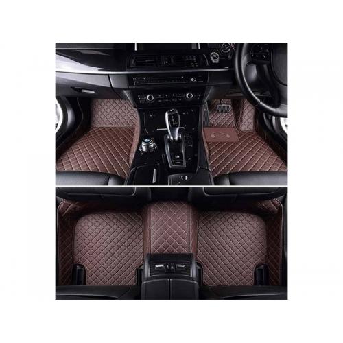 Kia Seltos Premium Diamond Pattern Non Grass 7D Car Floor Mats (Set of 3, Coffee)