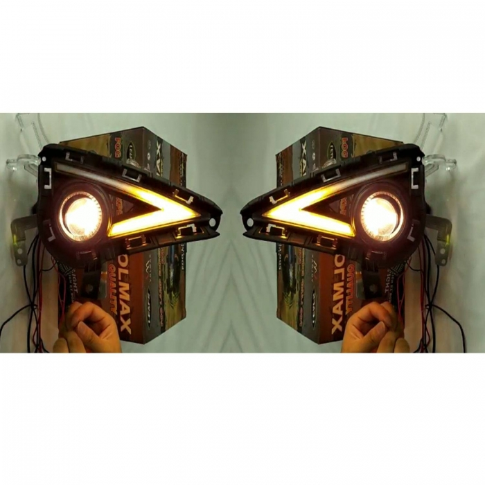 Hyundai Grand i10 Nios Front LED DRL Day Time Running Lights With Fog Light (Set Of 2)