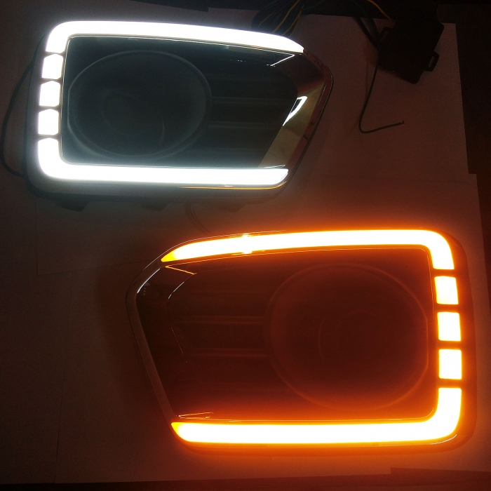 Maruti Vitara Brezza 2020 Front LED DRL Day Time Running Light with Matrix Turn Indicator in Light Cut Mine Design (Set of 2Pcs.)