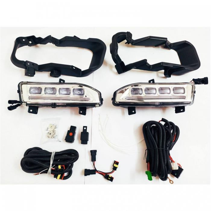 Nissan Kick LED DRL Daytime Running Lights  With Matrix Turn Signal & LED Fog Lamp - Volmax (Set of 2Pcs.)