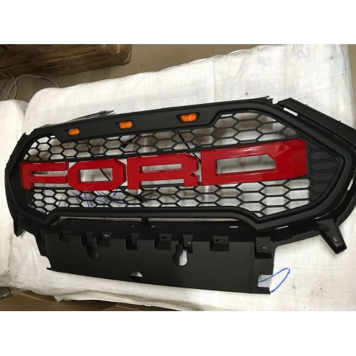 Ford Logo Front Grill ABS Plastic With Lights For New Ecosport Black and Red