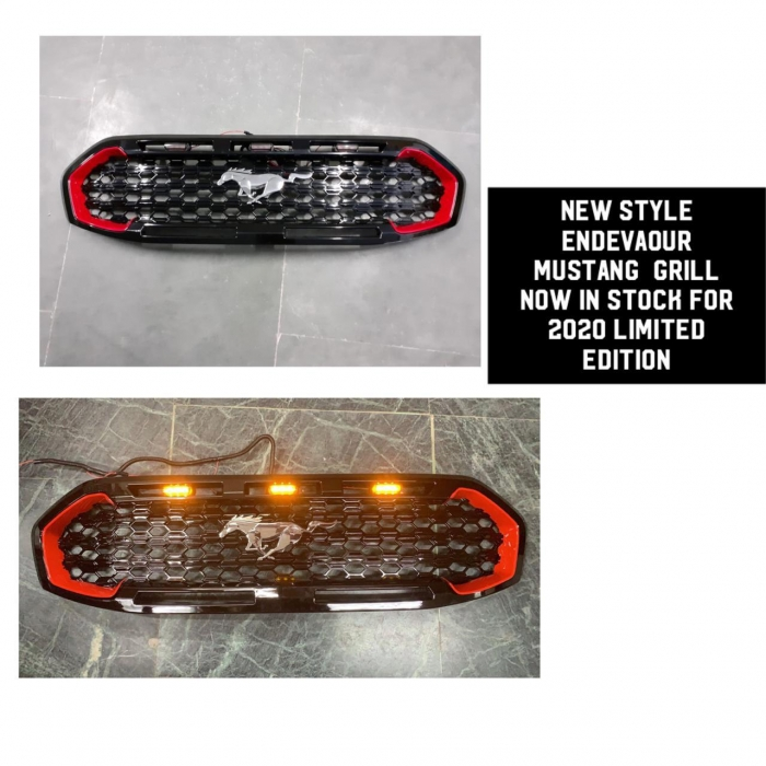 Ford Mustang Style Front Grill With LED Lights For New Endeavour 2020 Type 3