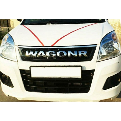 Maruti Suzuki New WagonR Logo Alpha Front Grill 2014 2018 Black Glossy