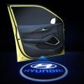 Wireless Car Welcome Logo Shadow Projector Ghost Lights Kit For Hyundai New Verna Set Of 2
