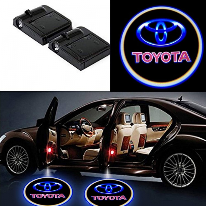 Wireless Car Welcome Logo Shadow Projector Ghost Lights Kit For Toyota Etios Set Of 2