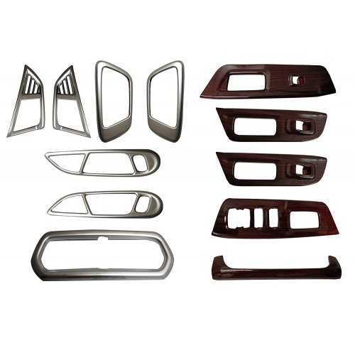 Ford Ecosport Interior Show Chrome and Wooden Combo Kit (12 Pcs)