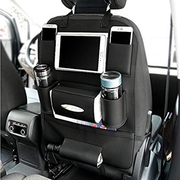 Carhatke PU Leather 3D Car Seat Back Multi Pocket Storage Bag Organizer Holder Hanger Accessory (Set of 2Pcs.)