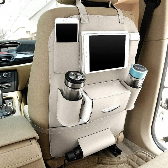 Carhatke PU Leather 3D Car Seat Back Multi Pocket Storage Bag Organizer Holder Hanger Accessory (Set of 1Pcs.)