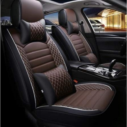 Maruti S-Presso PU Leatherette Luxury Car Seat Cover With Pillow and Neck Rest With Bucket Fitting Seat Cover
