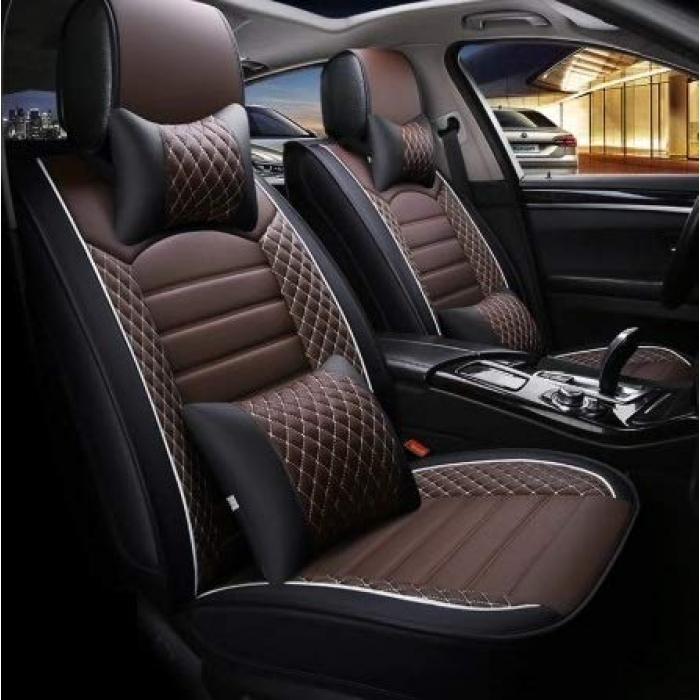 Chevrolet Sail PU Leatherette Luxury Car Seat Cover With Pillow and Neck Rest With Bucket Fitting Seat Cover