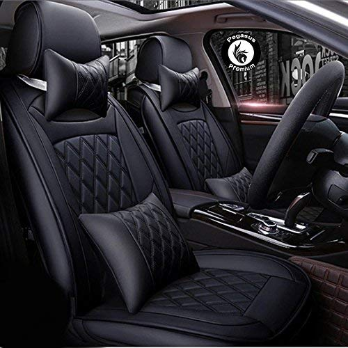 Mahindra TUV300 PU Leatherate Luxury Car Seat Cover With Pillow and Neck Rest All Black With Bucket Fitting Seat Cover