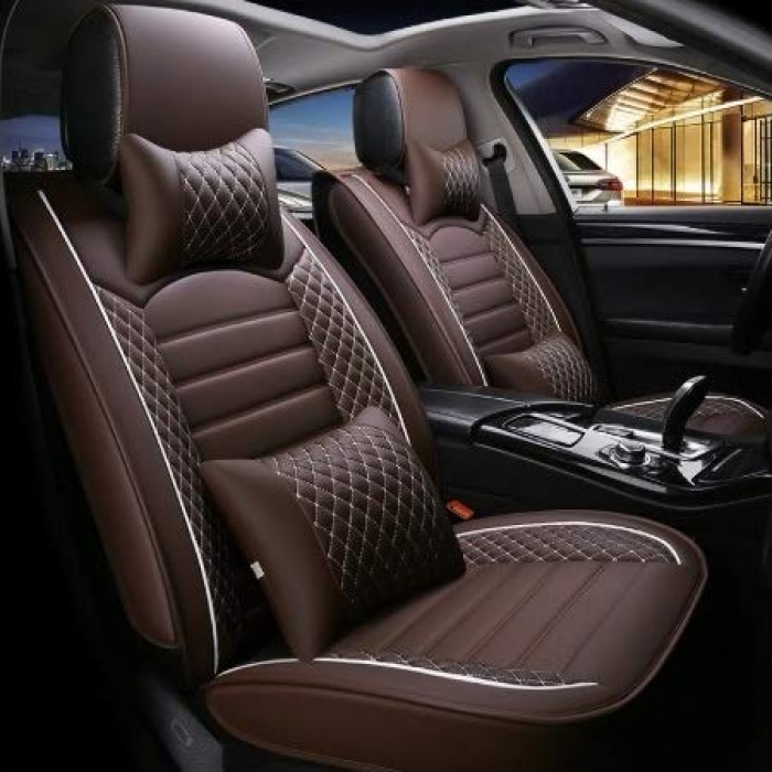 Kia Seltos PU Leatherate Luxury Car Seat Cover With Pillow and Neck Rest All Coffee