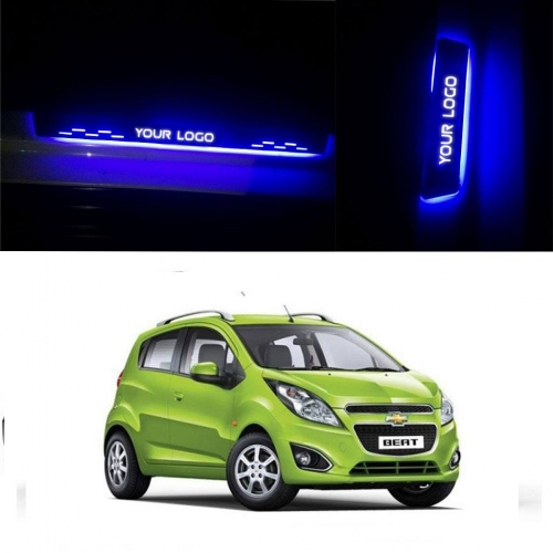 Car Door LED Light Scuff Sill Plate Guards for Chevrolet Beat (Set of 4Pcs.)